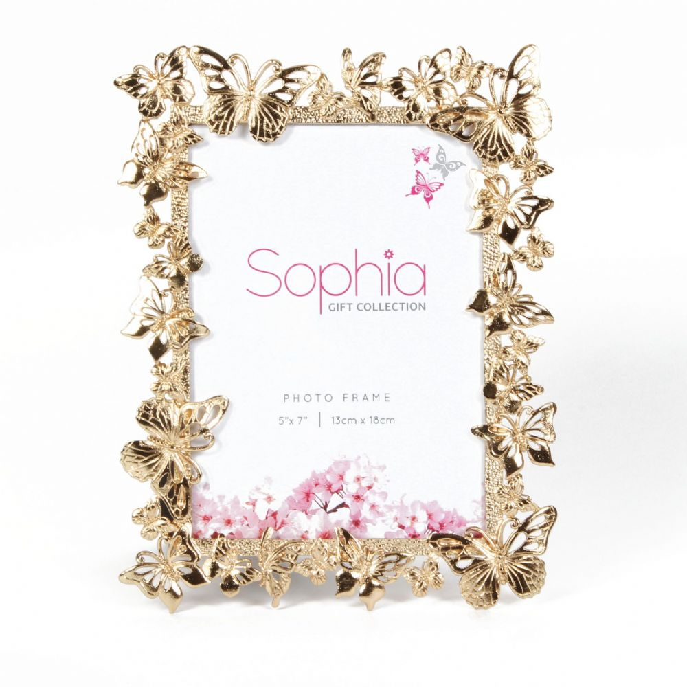 Butterfly Photo Frame - Gold Plated Butterfly Design Photo Frame By Sophia